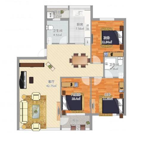 宁大花园3室1厅2卫1厨124.00㎡户型图