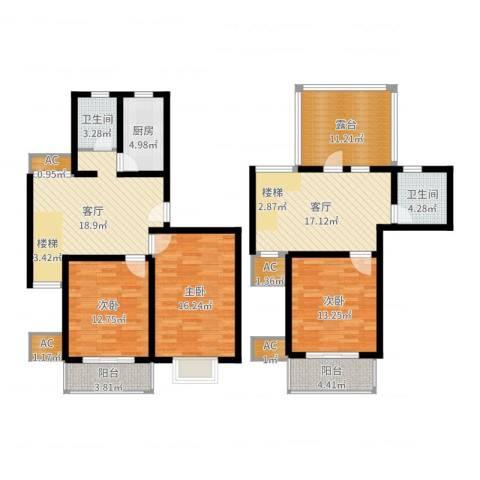 上大阳光乾和园3室2厅2卫1厨143.00㎡户型图