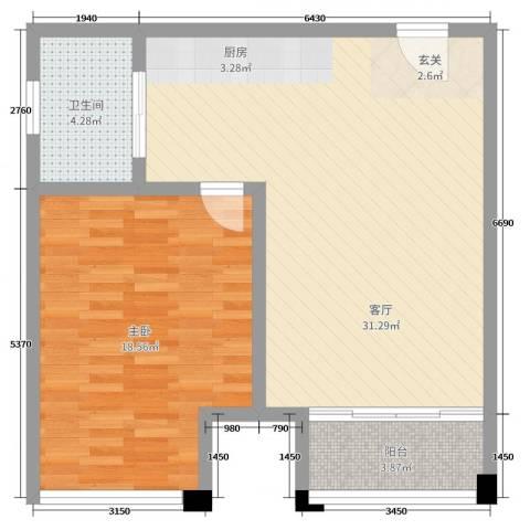 新城帝景1室1厅1卫0厨73.00㎡户型图