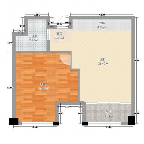 新城帝景1室1厅1卫0厨65.00㎡户型图
