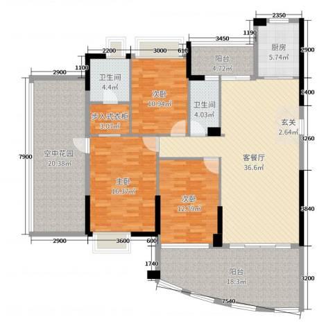 富逸上苑3室2厅2卫1厨138.00㎡户型图