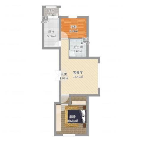 怡园绿景2室2厅1卫1厨61.00㎡户型图