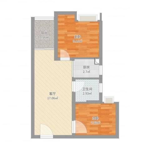书香门第2室1厅1卫1厨53.00㎡户型图