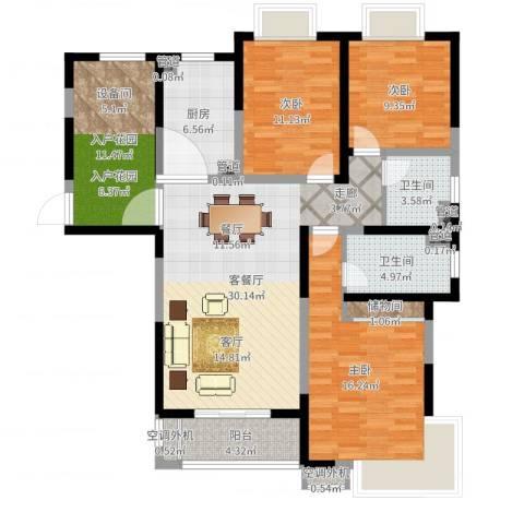 齐河德百玫瑰园3室2厅2卫1厨125.00㎡户型图