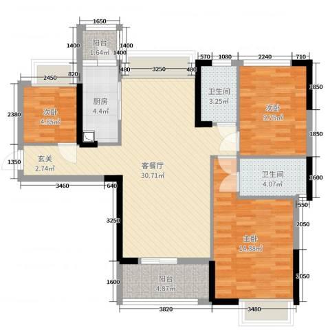 海伦春天3室2厅2卫1厨104.00㎡户型图