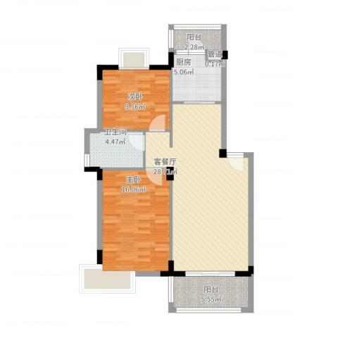 紫金园2室2厅1卫1厨101.00㎡户型图