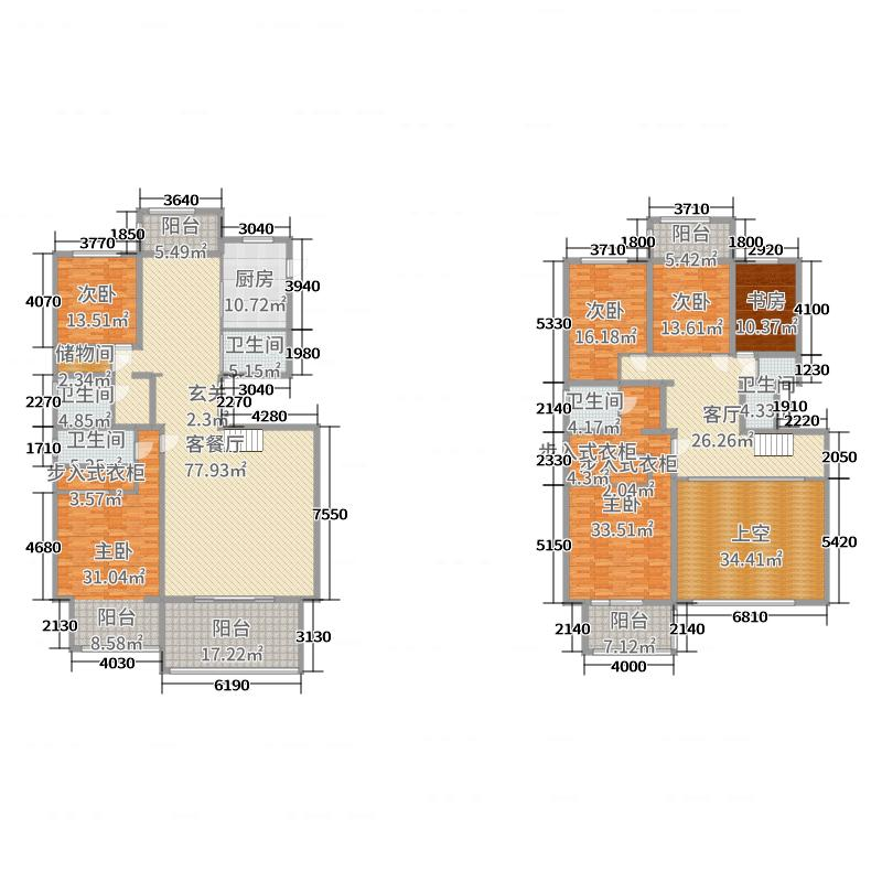 北城半岛名邸346.15㎡10#D1户型5室5厅3卫1厨