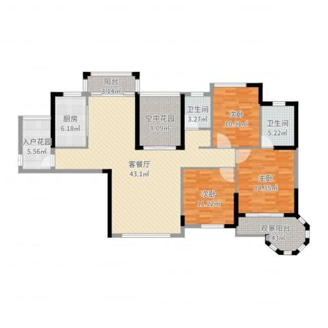 东信华府3室2厅2卫1厨147.00㎡户型图