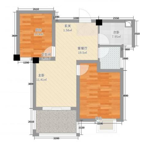 滨湖香江龙韵2室2厅1卫1厨76.00㎡户型图