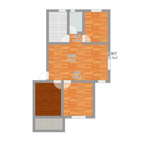 岭兜二里3室2厅1卫1厨84.00㎡户型图