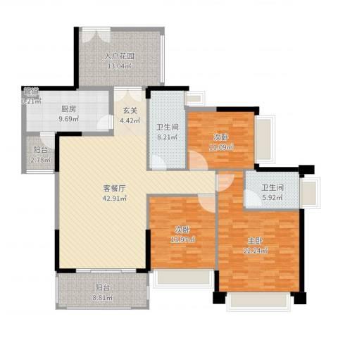 聚豪华庭3室2厅2卫1厨174.00㎡户型图