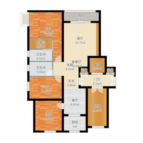 上东阳光3室2厅2卫1厨154.00㎡户型图