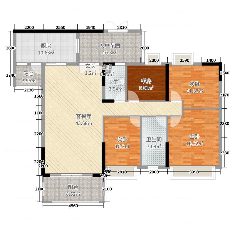 天御・云景162.21㎡C栋03单元标准层户型4室4厅2卫1厨