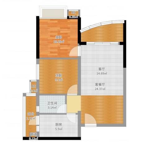 华景新城芳满庭园2室2厅1卫1厨76.00㎡户型图