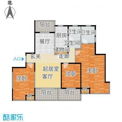 汇智湖畔家园148.00㎡D1户型3室2厅
