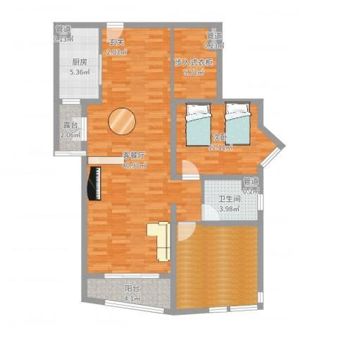 虹桥府邸1室2厅1卫1厨110.00㎡户型图