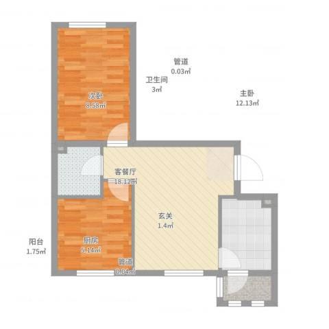 上庄三嘉信苑经济适用房2室2厅1卫1厨61.00㎡户型图
