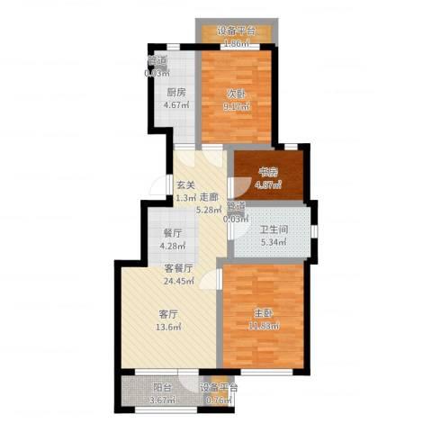 首开香溪郡3室2厅1卫1厨83.00㎡户型图