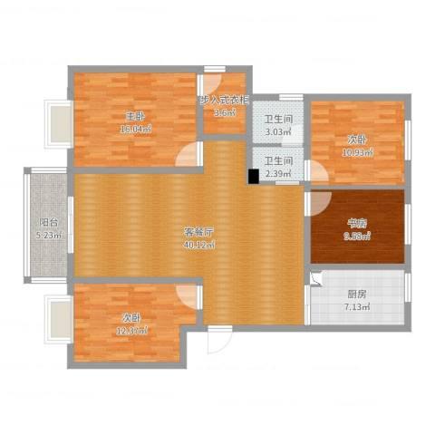 金德花园4室2厅2卫1厨138.00㎡户型图