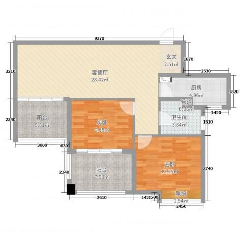达安上品花园2室2厅1卫1厨72.00㎡户型图