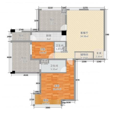 达安上品花园2室2厅2卫1厨108.00㎡户型图