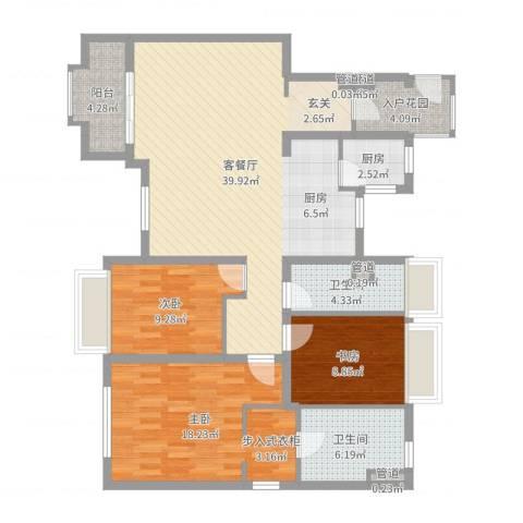 万科琥珀臻园3室2厅2卫1厨123.00㎡户型图