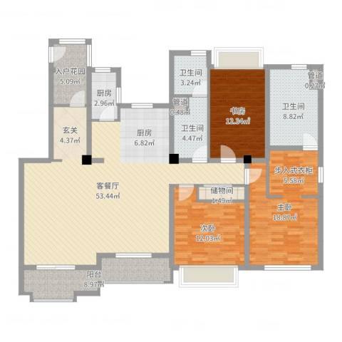 万科琥珀臻园3室2厅3卫1厨166.00㎡户型图