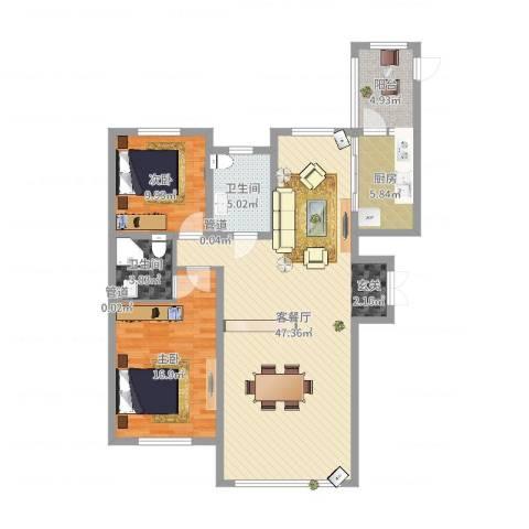哈公馆2室2厅2卫1厨117.00㎡户型图