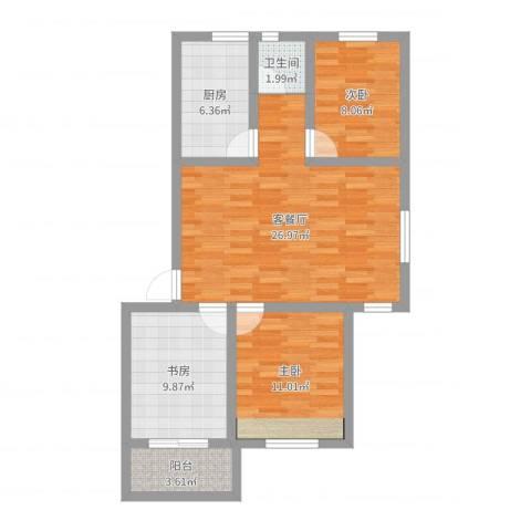 岭兜二里3室2厅1卫1厨85.00㎡户型图