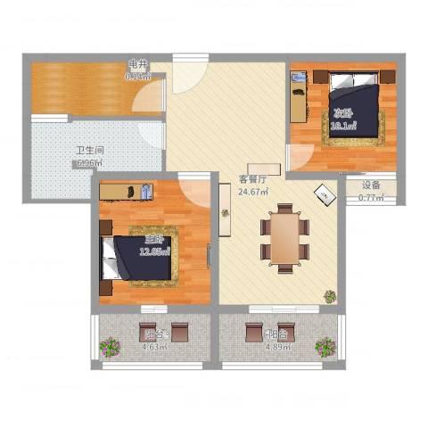 东郡华庭2室2厅2卫1厨87.00㎡户型图