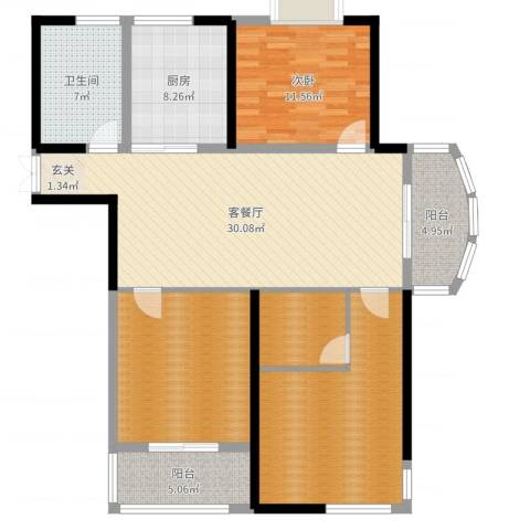 胜利华庭011室2厅1卫1厨128.00㎡户型图