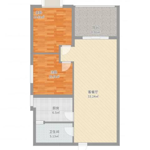 翰林尚城2室2厅1卫1厨84.85㎡户型图