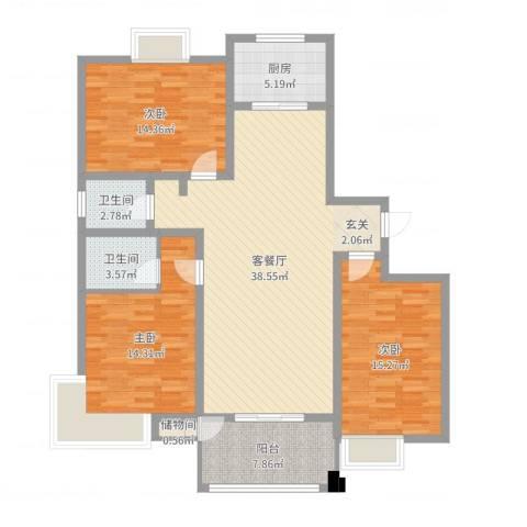 帝都・东城国际3室2厅2卫1厨128.00㎡户型图