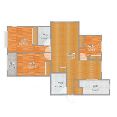 建投・御河新城0817033室2厅2卫1厨129.00㎡户型图