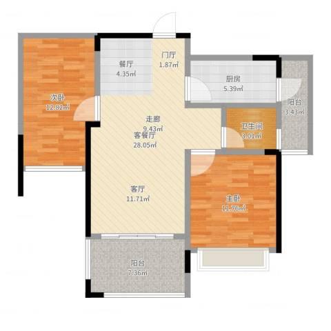天韵雅苑2室2厅1卫1厨90.00㎡户型图
