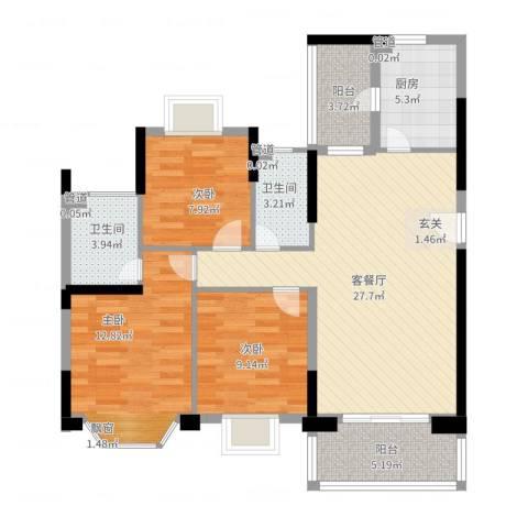 紫荆花园六期3室2厅2卫1厨113.00㎡户型图