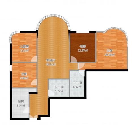 鹏润家园4室2厅2卫1厨143.00㎡户型图
