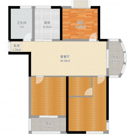 胜利华庭1室2厅1卫1厨128.00㎡户型图