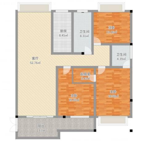 汇龙铭都3室1厅2卫1厨197.00㎡户型图