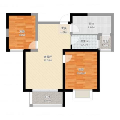 鹭悦豪庭2室2厅1卫1厨71.00㎡户型图