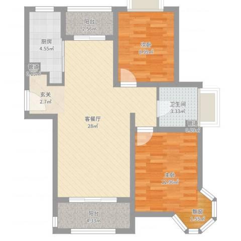 鹭悦豪庭2室2厅1卫1厨81.00㎡户型图