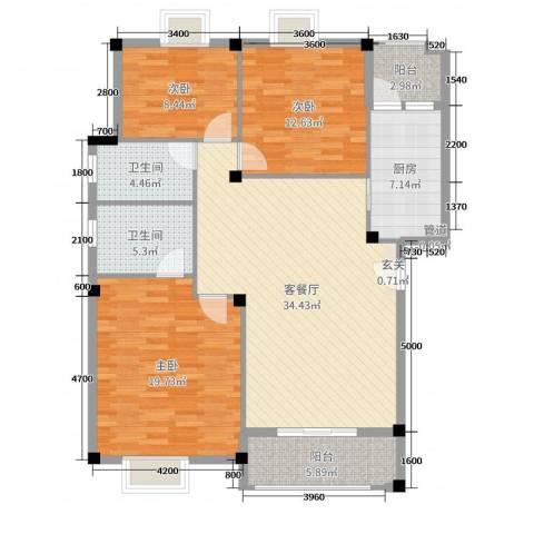 咸宁・碧桂园3室2厅2卫1厨110.00㎡户型图