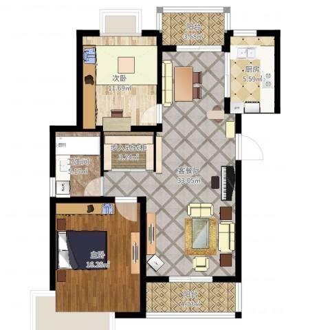 成亿宝盛家苑北块2室2厅1卫1厨104.00㎡户型图