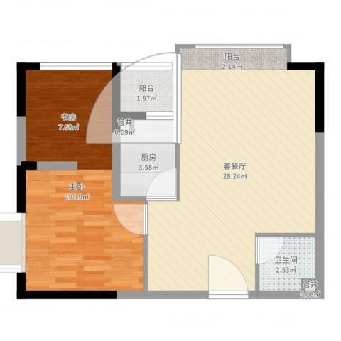南海桂花园1室2厅1卫1厨55.67㎡户型图