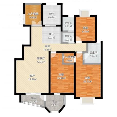 紫麟苑3室2厅3卫1厨146.00㎡户型图