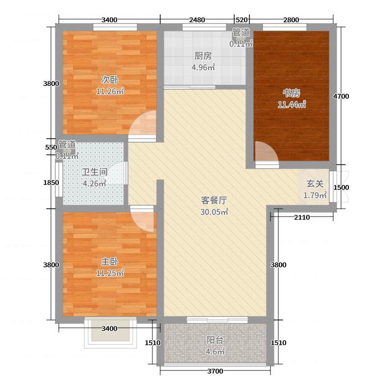 中国铁建・云公馆110.72㎡A1户型3室3厅1卫1厨