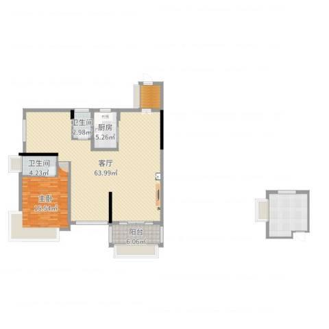 凯旋名门花园1室1厅2卫1厨139.00㎡户型图