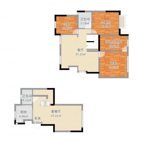 保利罗兰公馆3室3厅2卫1厨184.00㎡户型图