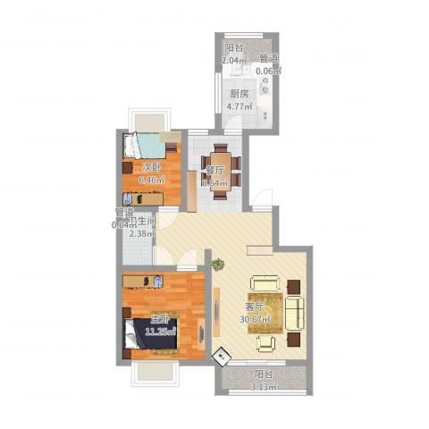 银海湾2室1厅1卫1厨89.00㎡户型图