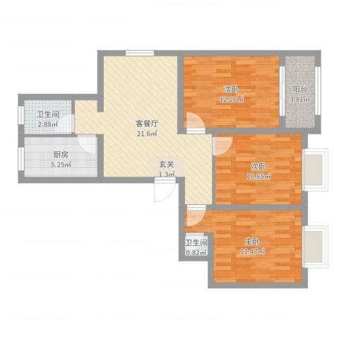 新月明星园3室2厅2卫1厨87.00㎡户型图